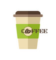 plastic coffee cup icon coffee beans logo vector image