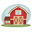 red barn on farm vector image vector image