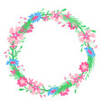 round floral frame hand-drawn spring colors vector image vector image