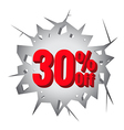 Sale 30 percent on Hole cracked white wall vector image vector image