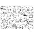 set different chef hats vector image vector image