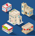 set of various isometric buildings vector image