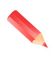 short small pencil icon realistic style red vector image vector image