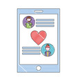 smartphone mobile love romantic chat vector image