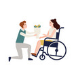 smiling man giving bouquet of flowers to disabled vector image