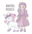 unicorn princess girl party cartoon vector image
