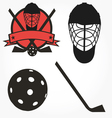 Unihockey floorball hockey icon set vector image