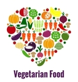 Vegetarian food heart shape vector image