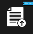 white upload file icon isolated on black vector image vector image