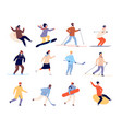 winter sports characters active skate skier and vector image vector image