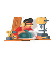 woodworker man at workplace vector image vector image