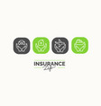 conceptual linear icons life insurance in the vector image