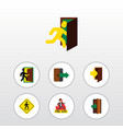 flat icon door set of entry entrance emergency vector image