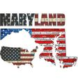 USA state of Maryland on a brick wall vector image