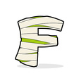 Letter F Egyptian zombies ABC sign coiled medical vector image