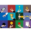 Hands icons set Flat Design vector image
