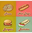Set of Retro Fast Food Cards vector image