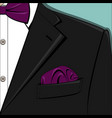 the black man suit with bow-tie vector image