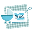 Baby Boy Stroller Invitation Card vector image vector image