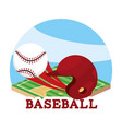 baseball sport game and helmet with ball vector image vector image