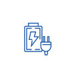 battery charger line icon concept battery charger vector image vector image
