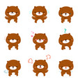 bear with different emotions cartoon vector image vector image