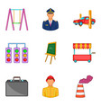 big city icons set cartoon style vector image