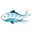 blue fish on a wave vector image