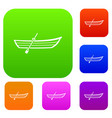 boat with paddle set collection vector image vector image
