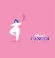 breast cancer care concept of pink ribbon girl vector image vector image