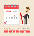 businessman with pen and calendar business vector image