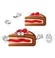 Cartoon berry pie slice with strawberry vector image