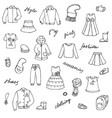 childish girl clothes shoes and lettering doodle vector image vector image