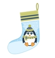 Christmas sock with penguin vector image