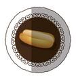emblem color hot dog bread icon vector image vector image