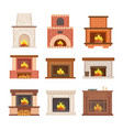fireplace from stone brick and wooden vector image