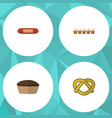 flat icon eating set of eggshell box tart cookie vector image vector image