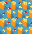 French fries in paper box seamless pattern Fast vector image