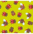 Funny insects ladybugs seamless pattern on green vector image