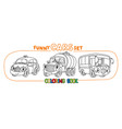 funny small retro cars with eyes coloring book set vector image vector image