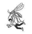 Giant mosquito kidnaps human sketch engraving