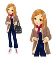 girl in denim overalls with backpack vector image