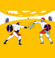 gladiator character fighting with barbarian vector image