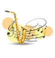golden saxophone with music notes in background vector image vector image