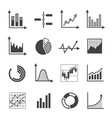 graphs charts and diagrams glyph icons set vector image