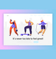 gym fitness character landing page set sport vector image vector image