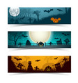 halloween night banners set vector image vector image