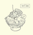 ice-cream sundae sketch vector image