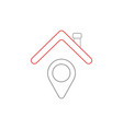 icon concept of map pointer under house roof vector image vector image