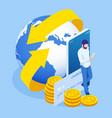 isometric technology online banking money transfer vector image
